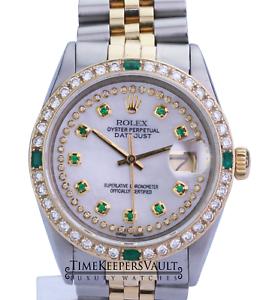 Rolex-Mens-Datejust-16013-White-MOP-Diamond-Emerald-Dial-Diamond-Bezel-36mm