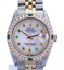 Rolex-Mens-Datejust-16013-White-MOP-Diamond-Emerald-Dial-Diamond-Bezel-36mm thumbnail 1