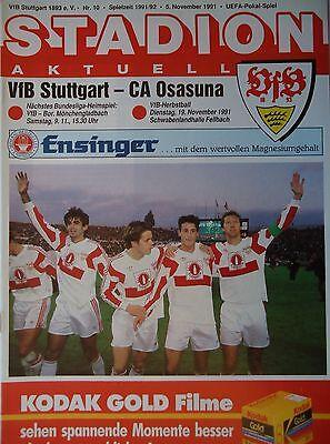 Program UEFA Cup 1991/92 VFB STUTTGART - Approx Osasuna | eBay