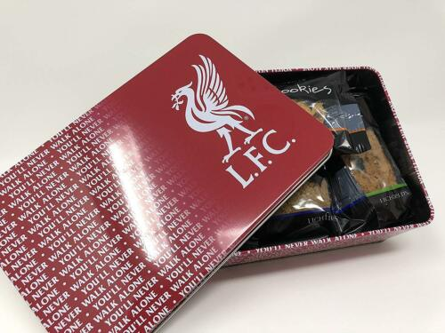 LIVERPOOL BISCUIT TIN WITH 12 LUXURY BISCUITS GIFT SET NEW OFFICIALLY LICENSED