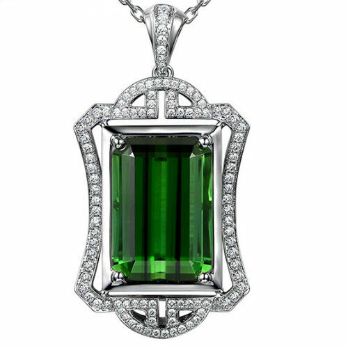 14K White gold & 9x12MM Emerald Cut Natural Green Tourmaline Diamonds Pendant