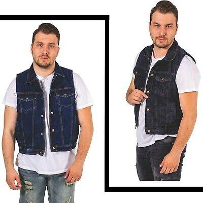 Men/'s Snap Front Denim Motard Gilet avec chemise col Club Style Gilet Veste