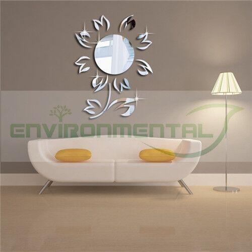 Flower Nature Acrylic Plastic Mirror Wall Home Decal Decor Vinyl Art Stickers