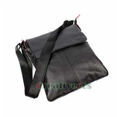 Men Genuine Leather Vintage Cross Body Shoulder Messenger Casual Flat Bag
