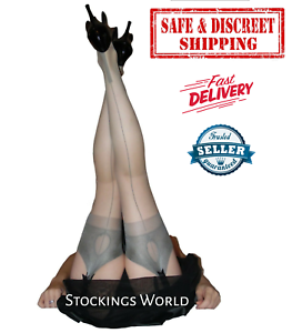 Fully-Fashioned-Stockings-NYLONS-Seamed-Cuban-Heel-KEY-HOLE-WELT-Grey-M-L-NEW