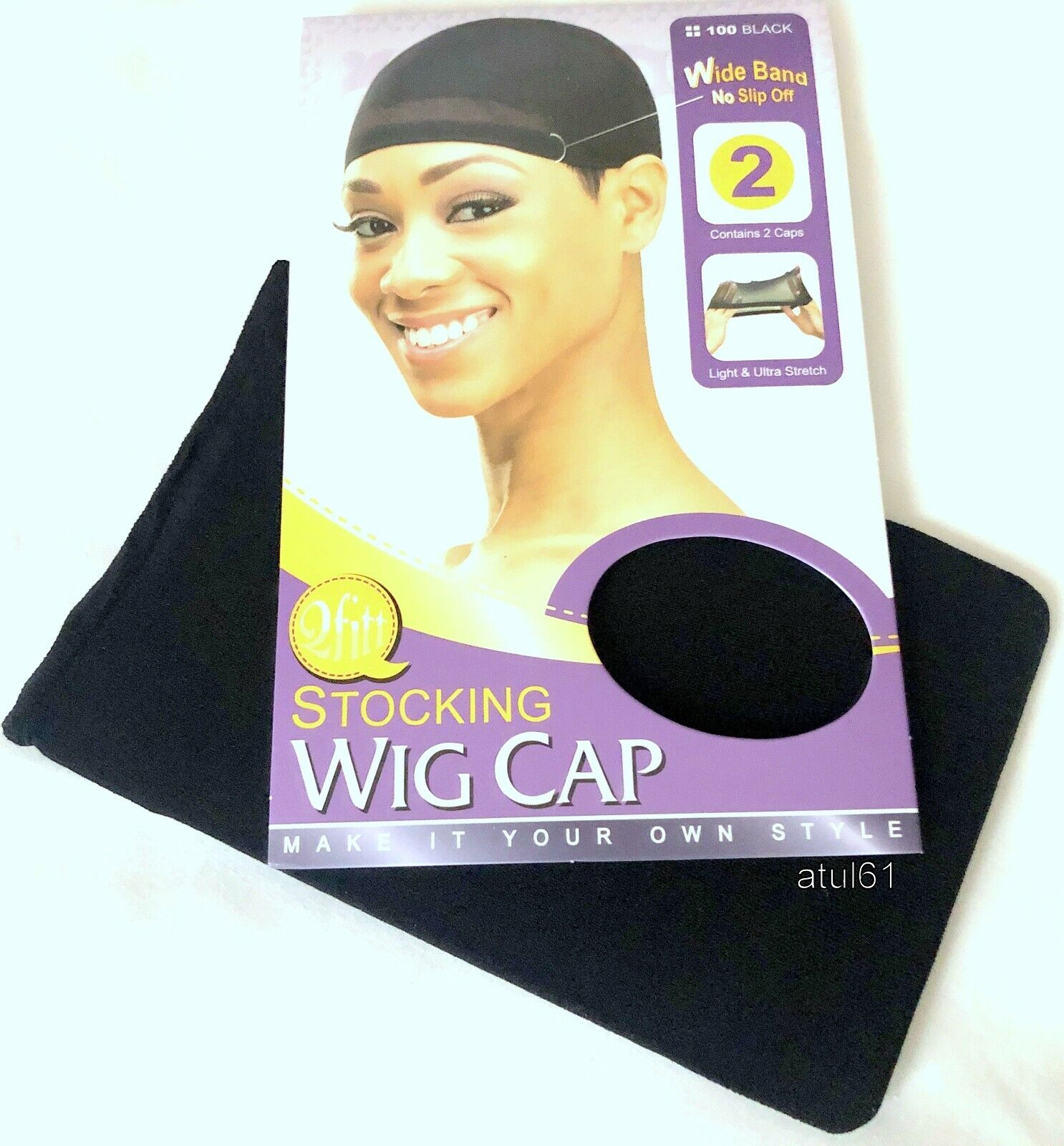 Pack of 2 Black Breathable Stocking Wig Cap Nylon Stretch Hair Liner Unisex New
