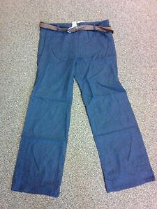 Womens Plus Size Linen Mix Pants No Pockets Navy Blue w//Brown Belt NWT NEW 1x-3x
