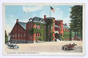 Postcard-Middletown-NY-State-Armory-West-Front-Cars-Street-View-New-York-1910-039-s