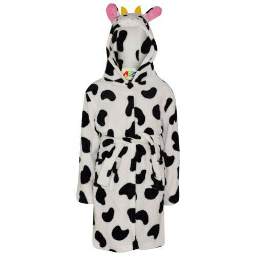 Kids Girls 3D Animal Cow Bathrobe Fleece Dressing Gown Nightwear Loungewear 2-13