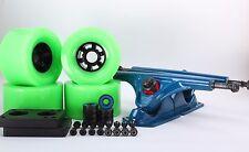 90mm 78a Neon Green Longboard Wheels and Blue Reverse Kingpin Truck Combo Set