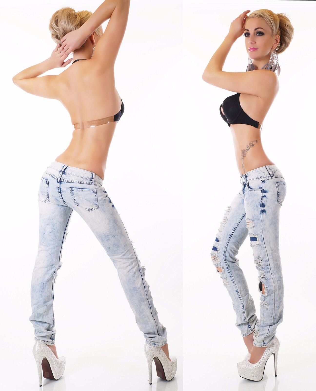 Femmes Hanche Jeans Pantalon 100% denim DETERIORE raccommoder Look Fissures Fissures Fissures cassé XS-XL baeb8e