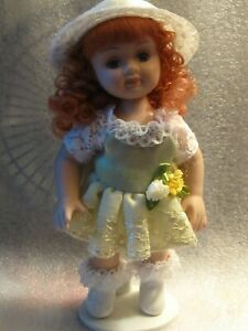 doll-porcelain-6-034-red-hair-eyelashes-green-dress-hat-w-stand-jointed-adorable
