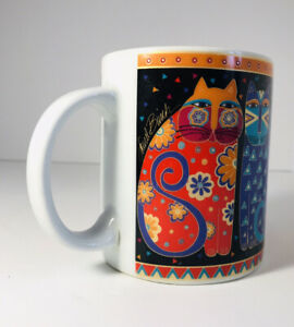 Laurel-Burch-Fantastic-Felines-Coffee-Mug-White-Ceramic-Vintage-1995-Large-16-oz