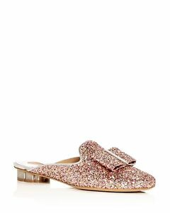 cb5c596c7 Image is loading Salvatore-Ferragamo-Sciacca-Glitter -Floral-Heel-Mules-Shoes-