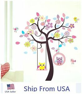 Cute owls bird swing flower tree wall stickers removable for Bird and owl tree wall mural set