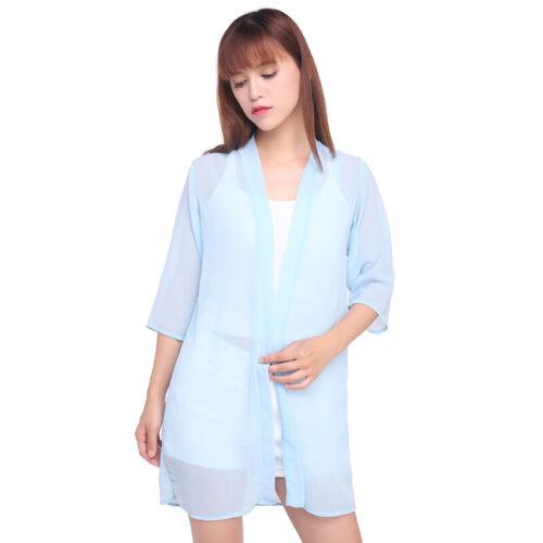 Lady Chiffon Thin Cardigan 3//4 Sleeve Sunscreen CoverUp Shirt Summer Kimono Coat