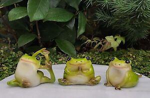 Miniature Dollhouse FAIRY GARDEN Frog Figurine ~ Set of 3 Yoga Frogs ~ NEW