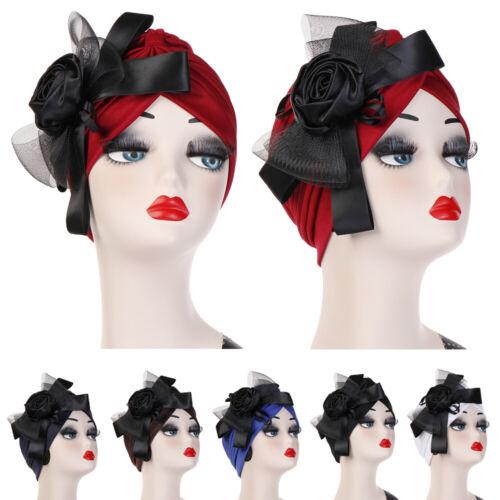 Women Head Wrap Hijab Turban Hat Mesh Bowknot Beanie Hair Loss Cover Chemo Caps