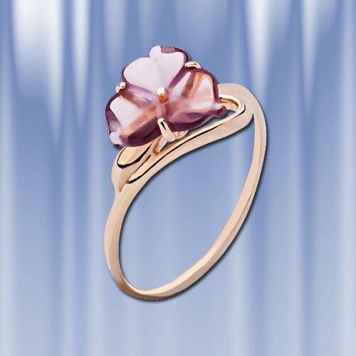 rosa russa rossooro 585 585 585 Anello Con Quarzo. circa 1.8g. LUCIDO NUOVO. a59632