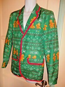 Christmas Sweater Suit.Details About Ugly Christmas Sweater Suit Coat Blazer Mens Jacket Bite Me Gingerbread Man Xl