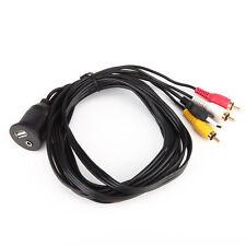 Car Dash Flush Mount USB Male-Female +3.5mm Audio to 3RCA Plug Cable Install Kit