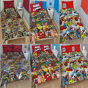 Marvel-Comics-Single-Double-Duvet-Cover-Bed-Set-Hulk-Iron-Man-Spiderman-Xmen