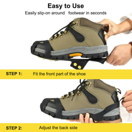 Details about  /Anti Slip On Over Shoe Boot Studs Crampons Cleats Ice Snow Grips Spikes Gripper