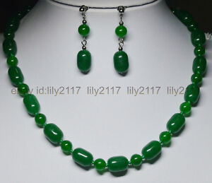 AAA-10x14MM-Natural-Green-Jade-Gems-Round-Barrel-Beads-Necklace-Earrings-Set-18-034