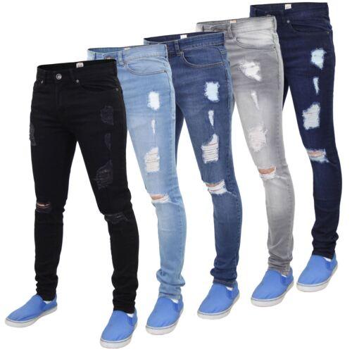 Enzo Mens ripped skinny jeans Super Stretch Denim Trouser Sizes Waist 28-40