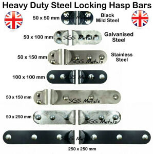 """Heavy Duty Hasp /& Staple Lock 10/"""" x 2/"""" Carbon Steel Sheds Garages Security New"""