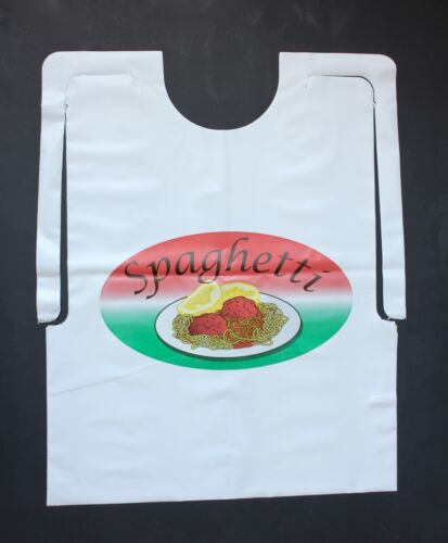 CASE OF 500 DISPOSABLE PLASTIC SPAGHETTI BIBS WITH MEATBALLS FREE SHIPPING