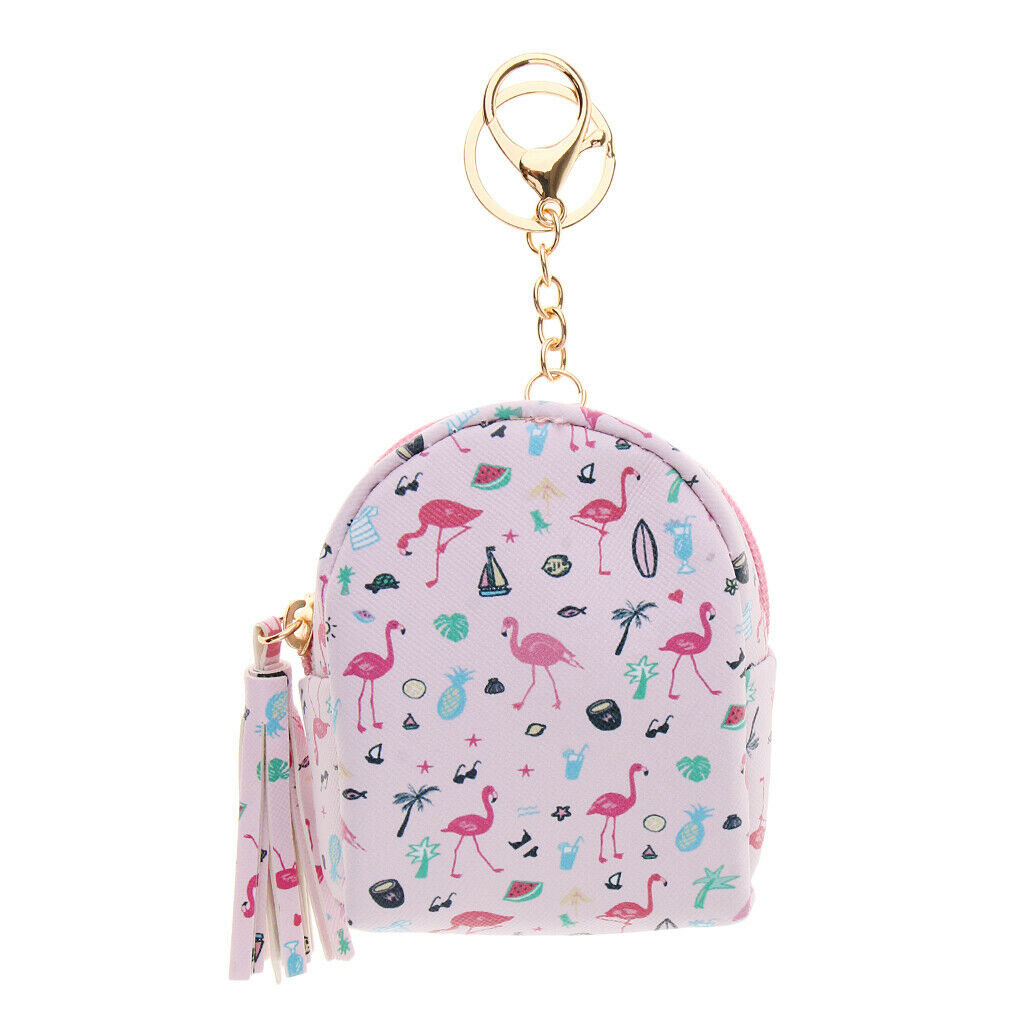 Leather Wallet Flamingo Keychain Charms Backpack Shape