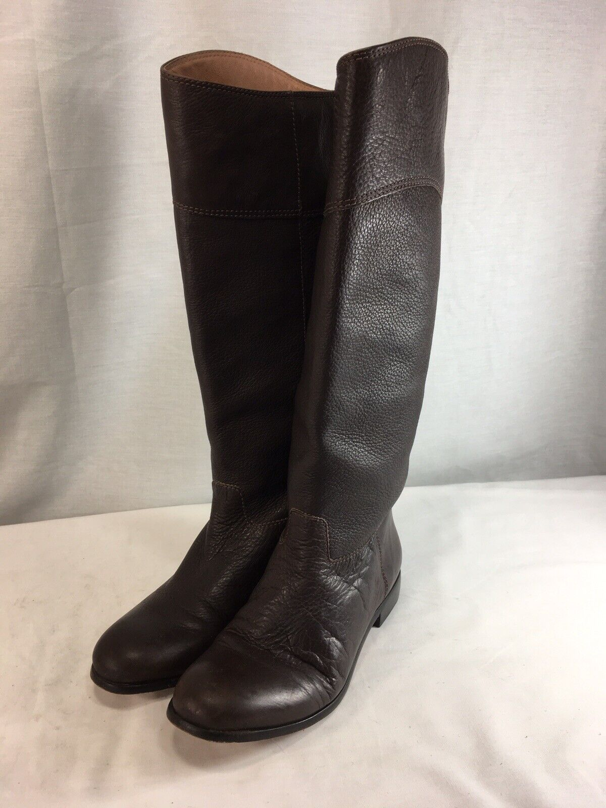 Corso Como Tall Riding Boots Womens 8 Brown Pebbled Leather Pull On Brazil
