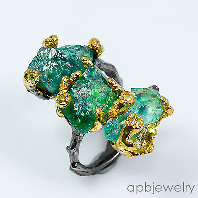 Rough fine art Natural Apatite 925 Sterling Silver Ring Size 6.75/R11560