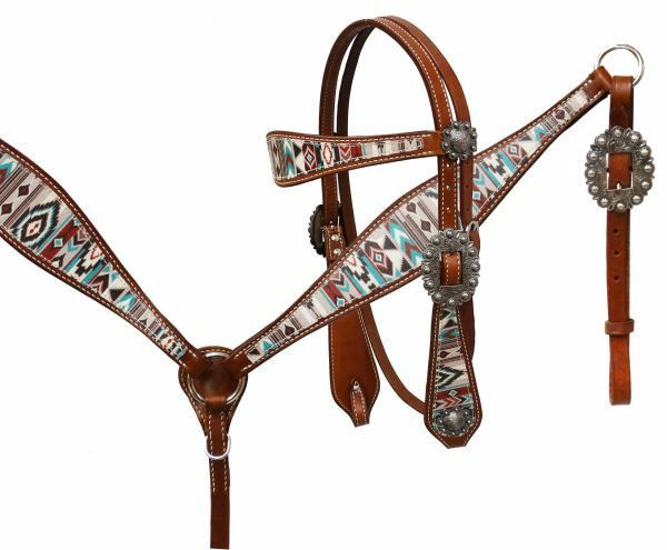Showman Teal Brown Navajo Diamond Print Leather Horse Bridle Breast Collar Reins
