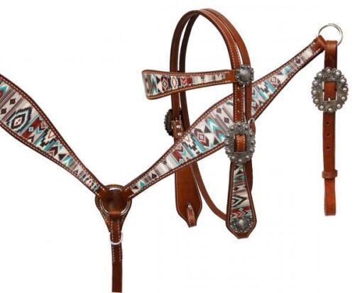 Showman Teal Brown Navajo Diamond Print Leather Horse Bridle Breast Collar Reins