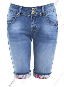 bbd6c748ef2e Detalles de Nuevo pantalón corto para mujer azul denim largo hasta la  rodilla subir Empujador Pedel Talla 6 8 10 12 14- ver título original