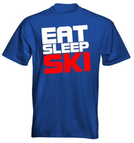 Velocitee Homme Premium T-shirt Eat Sleep Ski Ski Logo 2 taille et options de couleur
