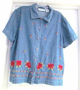 fac8c1d04e24f Lemon Grass Petites Denim Blouse Top Shirt Floral Sequin S S Button ...