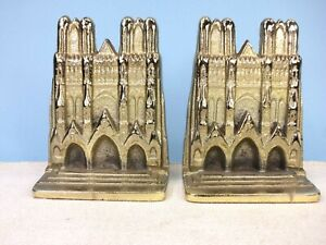 Details about Reims Cathedral (France) Bookends, Brass Plated Cast Iron,  Circa 1930's