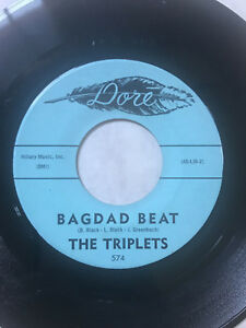 THE-TRIPLETS-Bagdad-Beat-Gently-My-Love-45-Instrumental-Rock-7-034-DORE