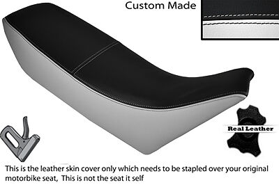 BLACK & WHITE CUSTOM FITS YAMAHA TDR 250 88-93 DUAL LEATHER SEAT COVER ONLY