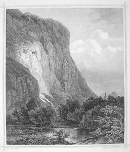 AUSTRIA-Tyrol-Martin-Wall-in-Zirl-1870s-Original-Engraving-Print