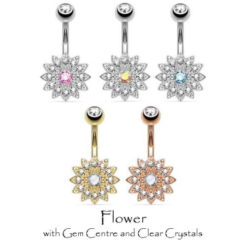 Crystal Gem Navel Ring Simulated Opal Steel Gold Rose Gold Flower Belly Bar