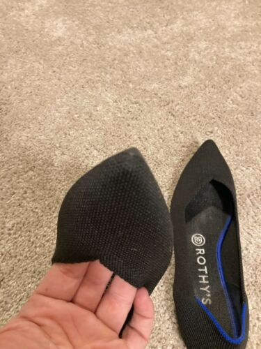 Rothy's 'The Point' Black Ballet Flats Shoes 8 Exc