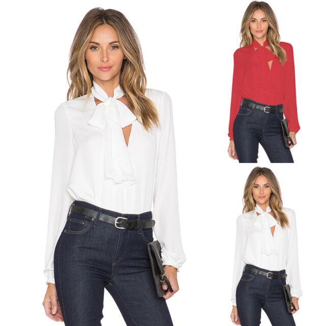Women Tops Chiffon Shirts Blouses Long Sleeve Fashion Casual Office Lady Shirts