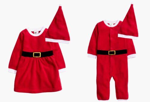 BNWT H/&M Baby Boys//Girls Fleece Christmas Santa Suit//Dress Hat 1-12mth Onesie