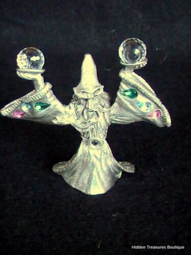 1987 Spooniques Wizard with 2 Crystal Balls Pewter Figurine
