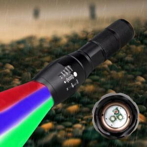 Zoom-Fokus-3-in-1-Rot-Gruen-Blau-Licht-LED-Predator-Jagd-Taschenlampe-Licht-18650