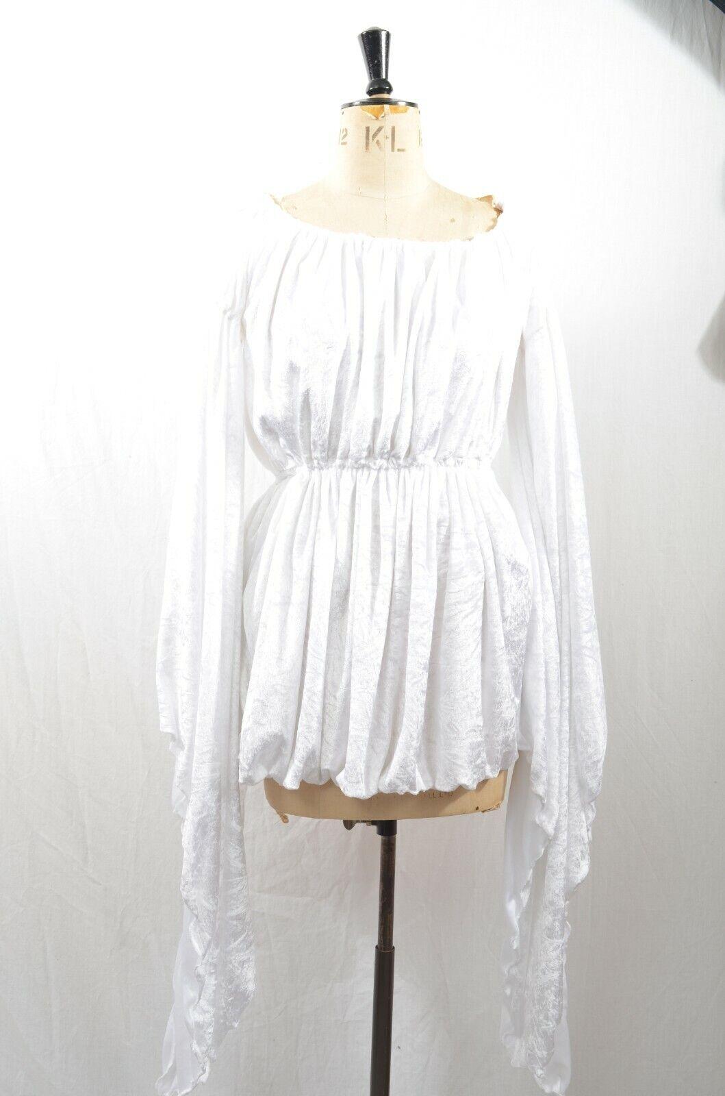 White Velvet Medieval Dress Regal Tudar Cosplay M/L UK 12-14